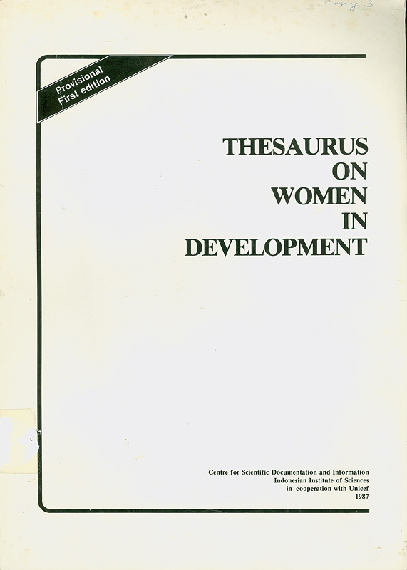 Thesaurus on women in development /editors, Melling Simanjuntak ... [et al.]