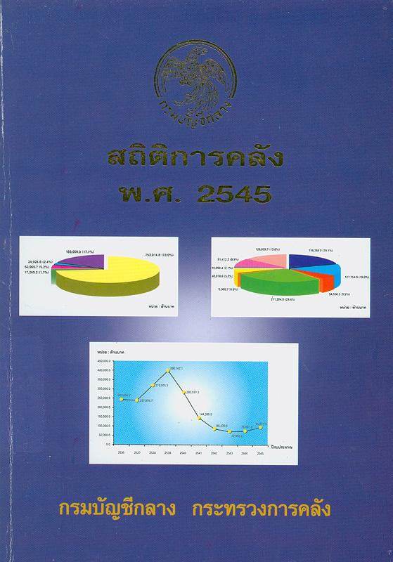 สถิติการคลัง พ.ศ. 2545 กรมบัญชีกลาง กระทรวงการคลัง /กรมบัญชีกลาง กระทรวงการคลัง||สถิติการคลัง กรมบัญชีกลาง กระทรวงการคลัง